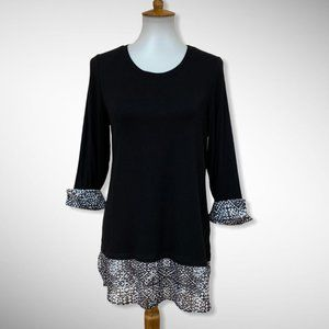 C & B Black Soft Knit Tunic Contrasting Accents SM